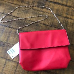Red purse with silver chain shoulder strap NWT